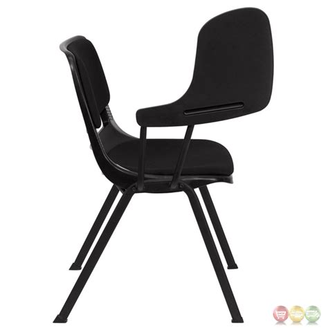 padded black ergonomic shell chair with right handed flip