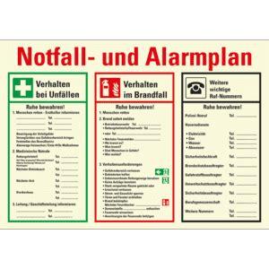 grosser notfallplan und alarmplan aushang nachleuchtend