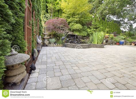 backyard asian inspired paver patio garden royalty