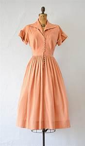 Vintage late 1940s early 1950s dark peach silk dress ...