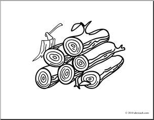 log clip art black  white cliparts