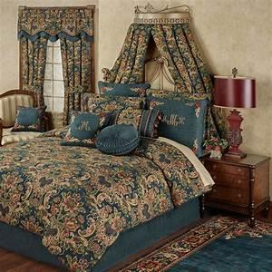 Casanova, Jacobean, Floral, Dark, Teal, Comforter, Bedding