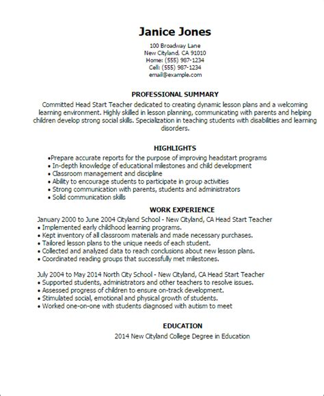 head start teacher resume template best design tips myperfectresume