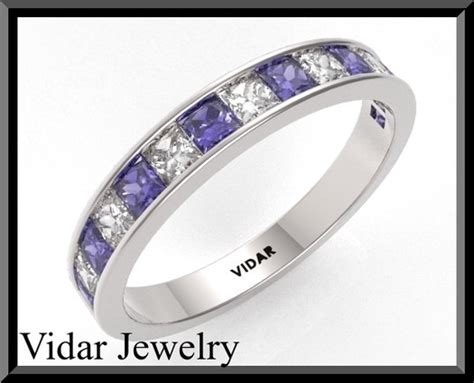 Womens Blue And White Sapphire Wedding Band.half Eternity