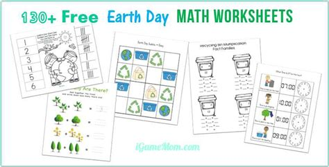 earth day math printable worksheets  kids