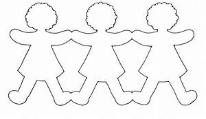 paper doll chain template craft pinteres With paper doll templates cut out