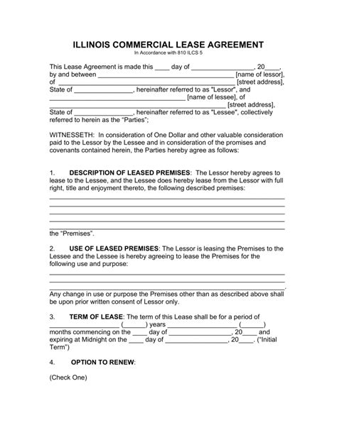 illinois commercial lease agreement template