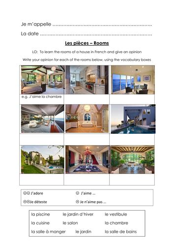 rooms   house french teaching resources