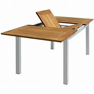 Table De Jardin Extensible : table de jardin rectangulaire et extensible en aluminium et bois teck dim l 150 210 x p 90 x ~ Teatrodelosmanantiales.com Idées de Décoration