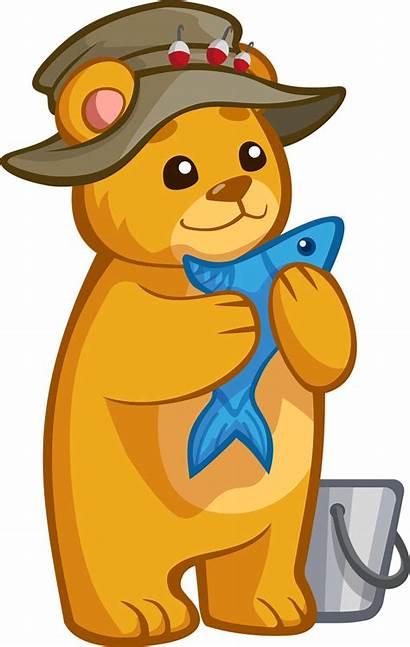Bear Fish Clipart Transparent Clip Animals Cartoon