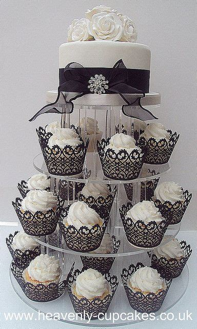 black white wedding cupcake tower nottingham by