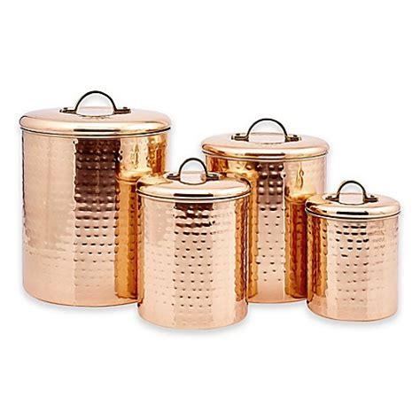 dutch international decor hammered copper  piece canister set bed bath
