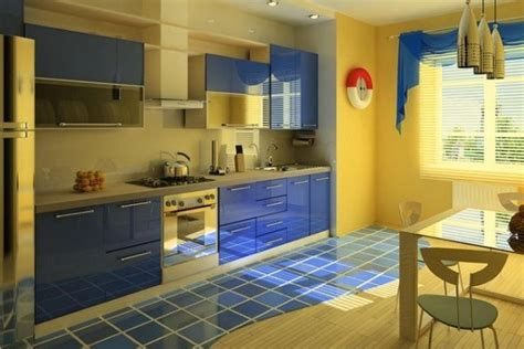 Small Kitchen Design In Yellow Blue Shades by Small Kitchen Design In Yellow Blue Shades Kitchen