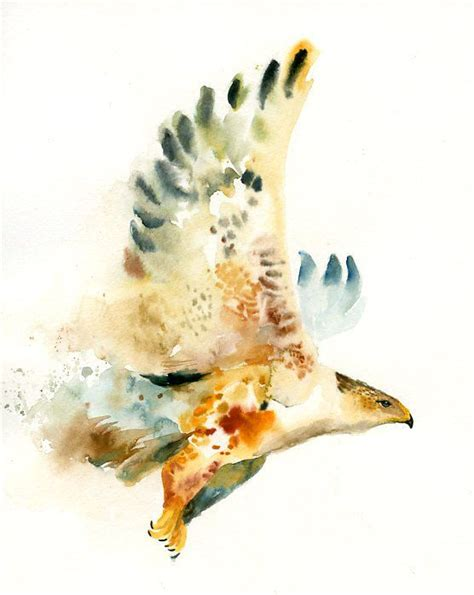 watercolor flying hawk tattoo design