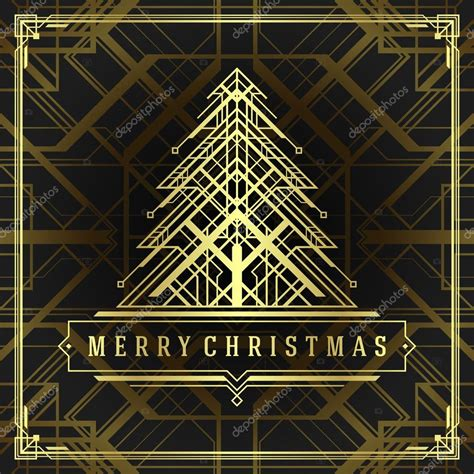 Type Of Christmas Trees by Christmas Tree Art Deco Style Background Stock Photo