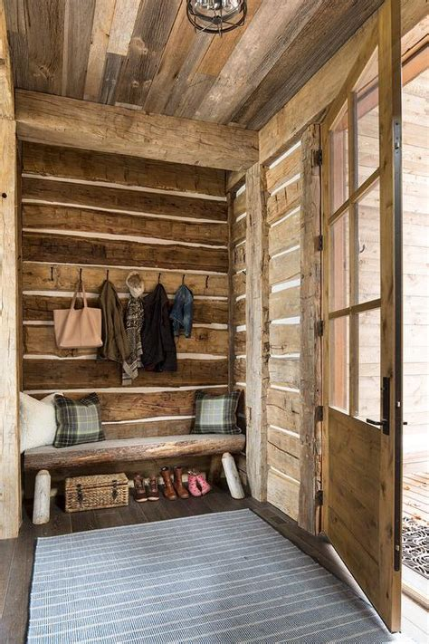 rustic cabin mudroom  bench country laundry room