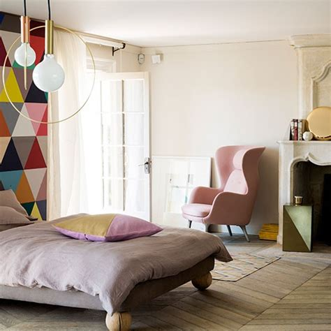 pastel bedrooms modern pastel bedroom with geometric feature wall bedroom decorating housetohome co uk