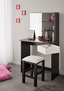Coiffeuse Meuble Noir : meuble coiffeuse noire et banche moderne margot ~ Teatrodelosmanantiales.com Idées de Décoration
