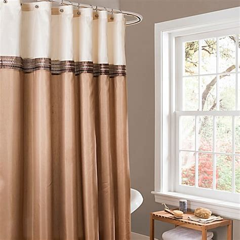 buy lush décor terra stripe shower curtain in beige ivory from bed bath beyond