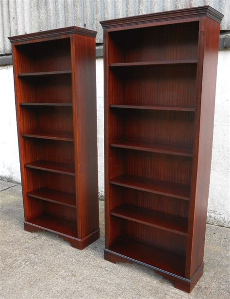 Antique Writing Desks by Pair Georgian Style Tall Mahogany Open Bookcase Cabinets