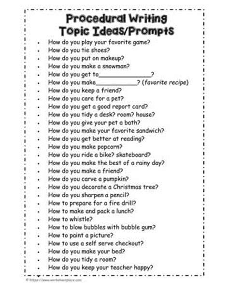 procedural writing a list of procedural writing prompts worksheets