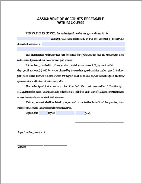 accounts receivable form assignment form of accounts receivable with recourse