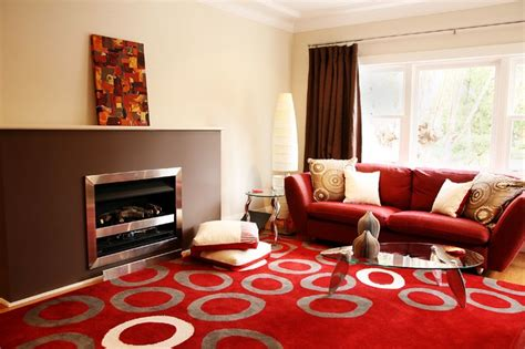 red  brown living room contemporary living room