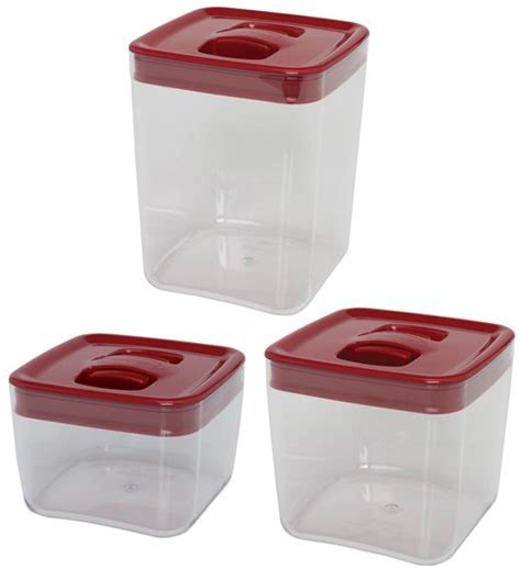 ClickClack Food Storage Containers   Red Cube (Set of 3