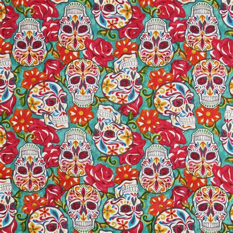 david textiles festive sugar skulls turquoise blue fabric