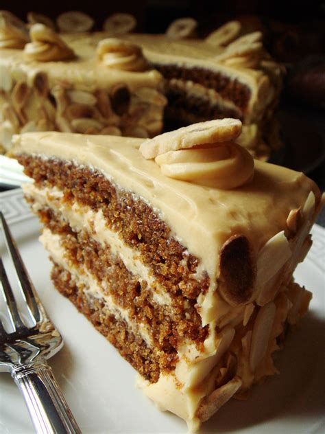 butterscotch banana cake  caramel cream cheese frostin
