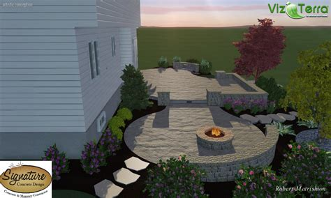 landscape design of two tiered decorative sted