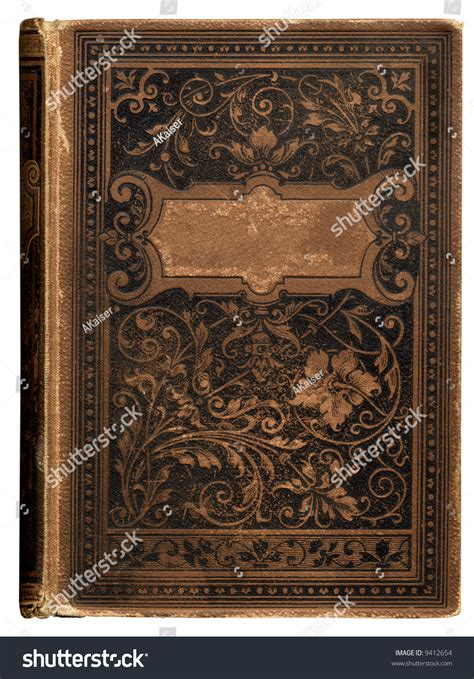 vintage bookcover beautiful floral decoration blank stock
