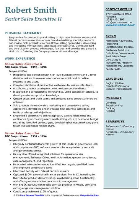 senior sales executive resume samples qwikresume