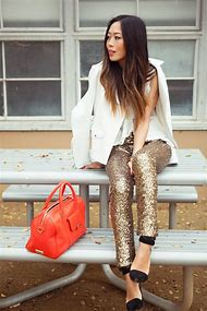 Silver Sequin Pants Outfits