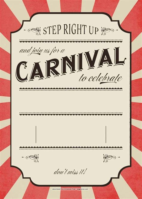 FREE Carnival Birthday Invitations Bagvania FREE