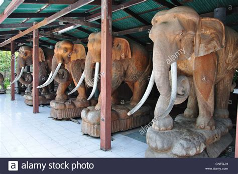 Buy Thai Wood Carving Wall Art Panel Asian Home Decor Online: Giant Wood-carved Elephants At The Royal Thai Wood Carving
