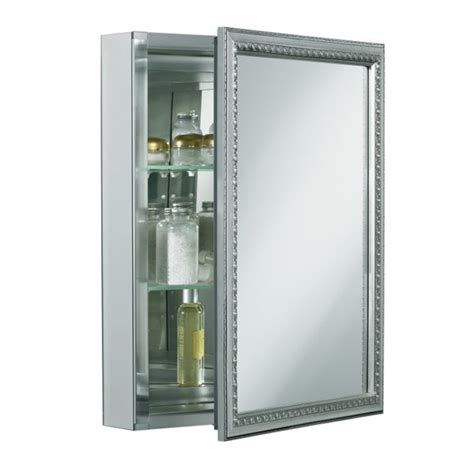 silver bathroom mirror lowes kohler cb clw2026ss 20 quot mirrored cabinet with decorative