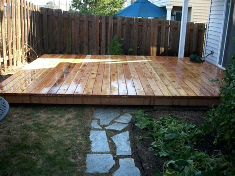 Freestanding Wood Deck   Deck Ground Level Cedar Deck