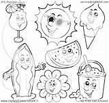 Coloring Summer Collage Outlines Clip Royalty Characters Digital Illustration Vector Clipart Visekart Copyright sketch template