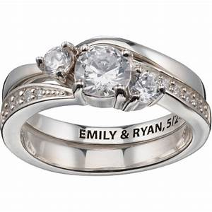 personalized sterling silver 2 piece engraved cz wedding With wedding rings sets at walmart