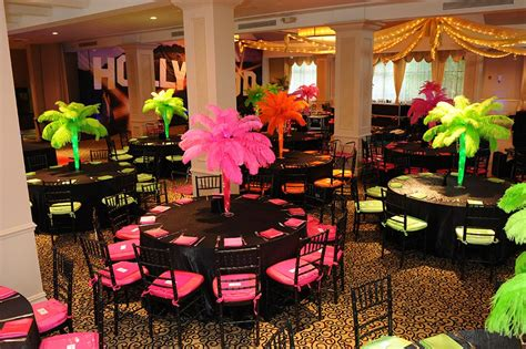 christmas tree decorators for hire los angeles themed bat mitzvah with feather palm tree