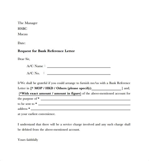 employee reference letter  bank account opening