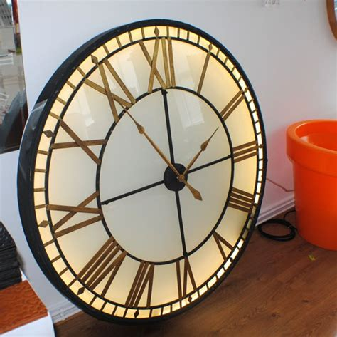 illuminated light big skeleton vintage wall clock