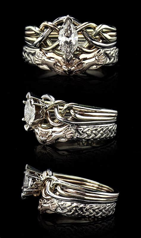 claddagh wedding ring set realm store rings ethically sourced celtic puzzle engagement rings and bridal
