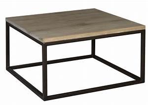 Table Chene Et Metal : table basse carr e en m tal et ch ne ~ Teatrodelosmanantiales.com Idées de Décoration