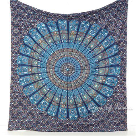double queen blue indian elephant mandala tapestry wall