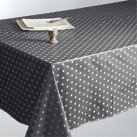 toile ciree grise a pois blanc table de cuisine