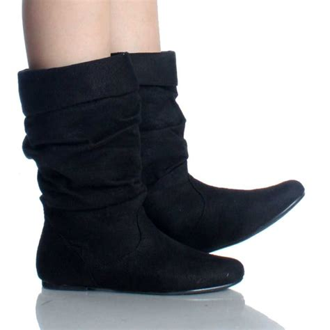 wide calf slouch boots black suede fold  slouch