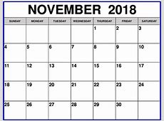 November 2018 Calendar Printable Template USA Canada UK