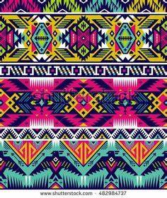 neon colors tribal vector seamless pattern with eagle
